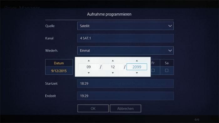 Der Zeit voraus: Die Aufnahmeplanung gelingt bis zum 31.12.2099. Mangels Twin-Tuner kann während des Mitschnitts aber keine andere Sendung angesehen werden.