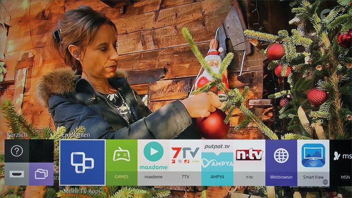 Tizen: Das Betriebssystem zeichnet sich durch eine Taskleiste aus, über die man auf alle Smart-TV-Funktionen des Samsung UE 55 JU 6850 zugreifen kann.