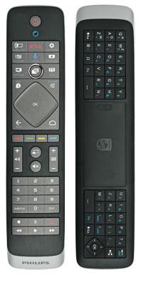 Zwei-Daumen-System: Die Tastatur auf der Rückseite der Philips-Fernbedienung erleichtert Texteingaben enorm. Ein Gyrosensor ist nicht an Bord.