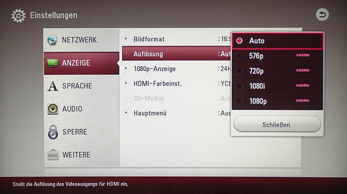 Im Anzeige-Menü lässt sich die HDMI-Videoauflösung zwischen 576p und 1080p festlegen.