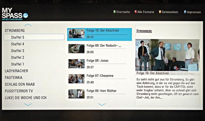 """Lustig: """"MySpass"""" bringt unter anderem alle Folgen von Büro-Ekel Stromberg in akzeptabler SDTV-Qualität, unterbrochen von Werbung, auf den Schirm."""