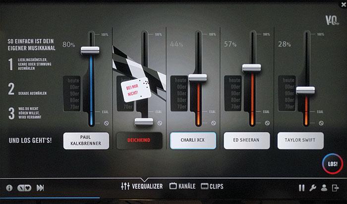 """Putpat-tv sendet Musikvideos: Mit dem """"Veequalizer"""" (Bild) kann der Hörer seinen eigenen Musikkanal anhand seiner Lieblingskünstler mixen."""