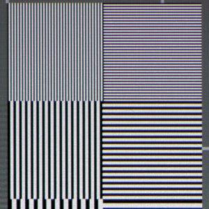 Scharf und kontrastreich: Feinste Linienpaare im Full-HD-Testbild fokussiert Benqs Ein-Chip-DLP-Projektor knackig sowie ohne Farbsäume.