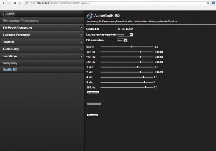 Klangregelung: Auch über das informative Webinterface lässt sich der manuelle Equalizer bequem einstellen.