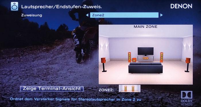 Zone 2: Bei einem 5.1-Setup beschallt der Denon zusätzlich zwei passive Boxen in einem weiteren Raum.