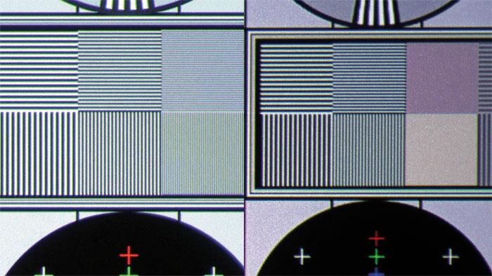 4K-Projektoren von Sony lösen feinste Details im UHD-Testbild trotz leichter Bildfehler sauber auf (links), beim JVC verschwinden sie leider gänzlich (rechts). Nur die Farbauflösung legt leicht zu.