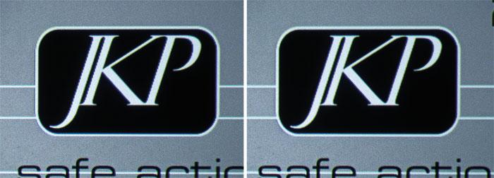Schräge Konturen im Schriftzug wirken links etwas gröber gestuft als rechts mit aktiver E-Shift-Funktion.
