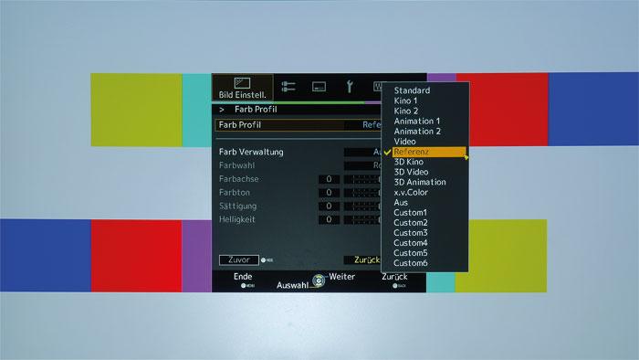 """Viele Farbprofile: Im Bildmodus """"User"""" stehen diverse Farbprofile zur Auswahl. Einen eigenen DCI- oder HDR-Modus sucht man aber vergeblich."""