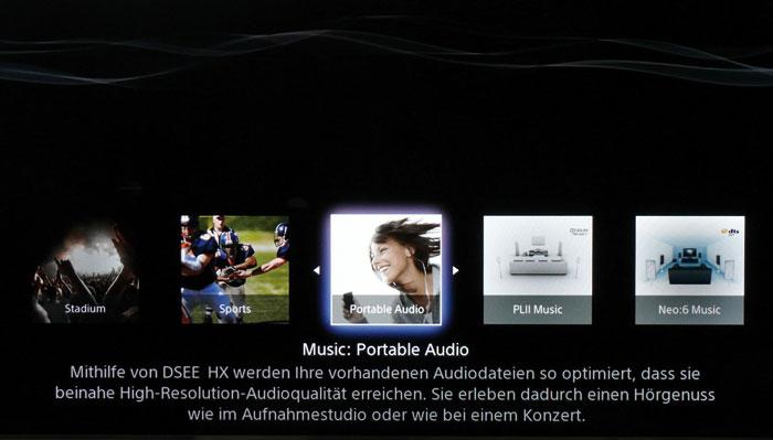 """Der Hörmodus Portable Audio verbessert mit dem """"DSEE HX""""-Verfahren den Klang schlecht codierter Musik."""