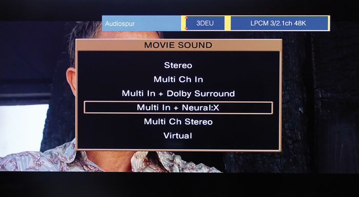 Der DTS Neural:X-Upmixer lässt sich bei DTS- und PCM-Signalen aktivieren, aber nicht bei Dolby-Ton.