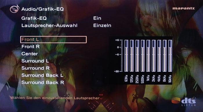 Klang-Tuning: Der grafische 9-Band-Equalizer regelt alle Lautsprecher bis auf die beiden Subwoofer.