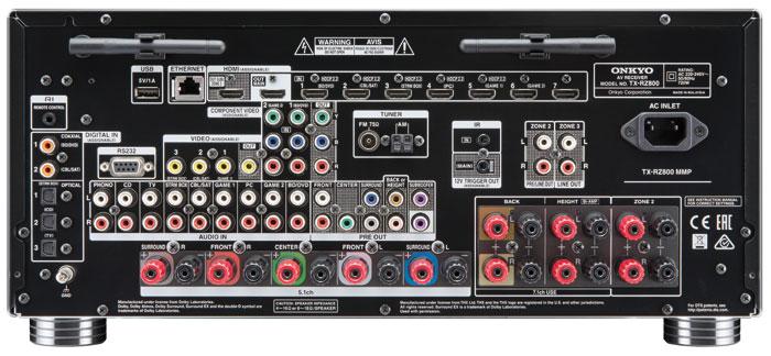 Von den elf Lautsprecher-Anschlüssen des Onkyo können immer nur sieben gleichzeitig aktiv sein. Er kann zwei weitere Hörzonen mit Signalen versorgen, von denen einer auch der zweite HDMI-Ausgang zugeordnet werden kann. Die HDCP-2.2-Funktionalität ist bei allen HDMI-Eingängen explizit gekennzeichnet.