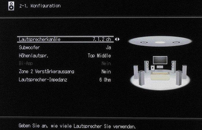 Die Boxenkonfiguration des RZ800 bietet die Option für ein 7.1.2-Setup. In der Praxis lassen sich jedoch die Höhen-Boxen und Back-Surround-Lautsprecher nicht gleichzeitig betreiben – trotz entsprechender Vorverstärkerausgäng.