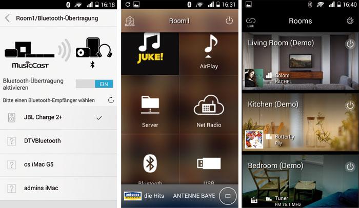 Die MusicCast-App dient als Steuerzentrale für Yamahas Multiroom-System: Sie funktioniert auf Smartphones und Tablets mit Android- (ab Version 4.1) und iOS-Betriebssystem (ab Version 7.1). Mit den übersichtlichen Kacheln kann man einen Raum (rechts) und eine Tonquelle (Mitte)auswählen. Neben den hauseigenen MusicCast-Komponenten lassen sich auch Bluetooth-basierte Wiedergabegeräte anderer Hersteller (links) einbinden.