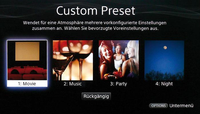 """Das elegante """"Custom Presets""""-Menü erlaubt den schnellen Zugriff auf verschiedene Klang-Setups."""