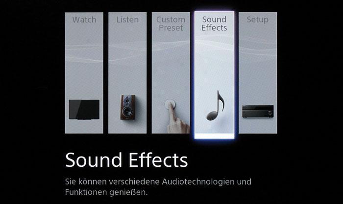 """Hauptmenü: Über die Punkte """"Watch"""" und """"Listen"""" gelangt man zu den Video- bzw. Audio-Eingängen."""