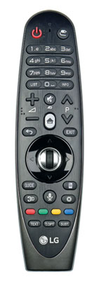 Aus einer Hand: Neben konventionellen Tasten verfügt LGs Magic Remote auch über einen Gyrosensor und ein Mikrofon für die Bewegungs- bzw. Sprachsteuerung.