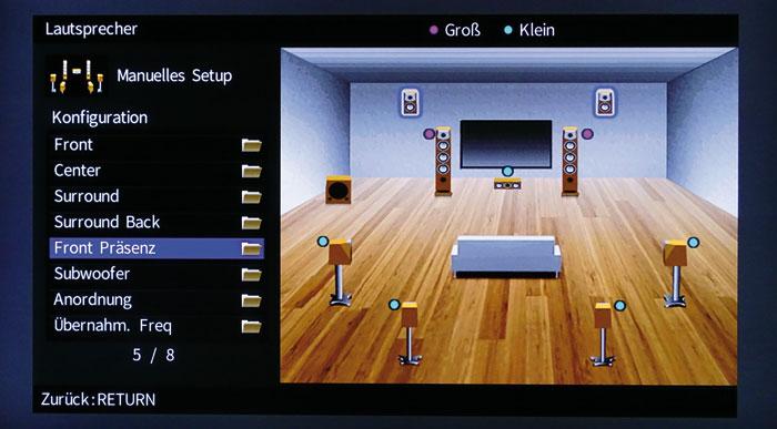 Boxen-Setup: Ob die Front-Presence- oder die Back-Rear-Boxen spielen, entscheiden die Klangprogramme.