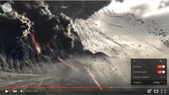 Auf seiner Homepage und auf YouTube bietet das ZDF Vulkan-Aufnahmen bereits in UHD-Auflösung an.