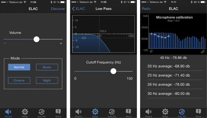 Linkes Bild: Neben der Lautstärke-Justage kann man unter vier Klangprogrammen wählen. Mittleres Bild: Der Frequenzgang des variabel einstellbaren Tiefpass-Filters wird grafisch veranschaulicht. Rechtes Bild: Für optimale Messungen kalibriert die App das Mikrofon im Smartphone.