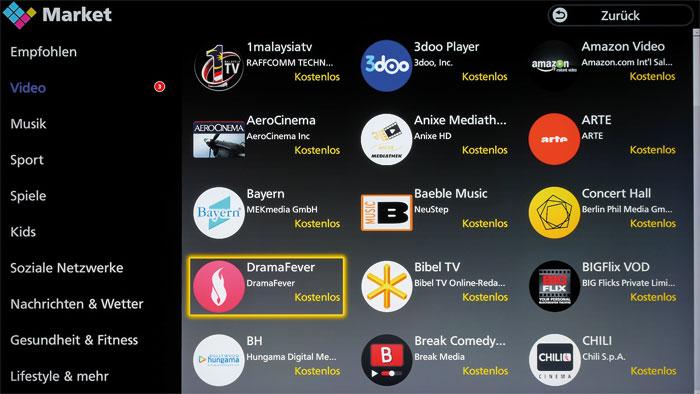 """Kunterbunt: In Panasonics """"Apps Market"""" stehen zahlreiche Smart-TV-Anwendungen zum Download bereit, wobei Videoportale hier besonders hoch im Kurs stehen."""