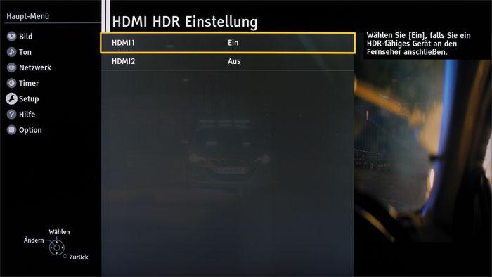 Aha-Effekt: Um Ultra-HD-Blu-rays in HDR-Qualität bewundern zu können, müssen im Setup-Menü erst einmal die HDMI-Ports darauf vorbereitet werden.