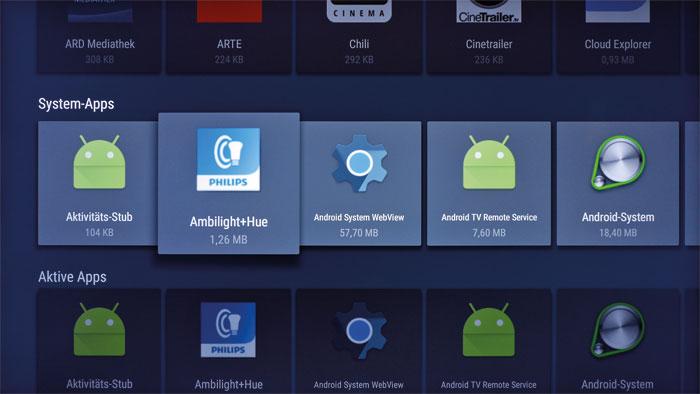 Hinter den Kulissen: Über das Android-Menü gelangt man zu einer Art Taskmanager, der die auf dem Fernseher installierten Apps sowie aktive Anwendungen auflistet.
