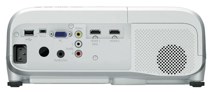 Übersichtlich: Als Einsteigermodell verzichtet der Epson auf 12-Volt-Trigger, RS-232-Steuerung oder YUV-Inputs. Dafür gibt er den Ton via HDMI oder analoge Audioquellen über Lautsprecher sowie Miniklinke aus.