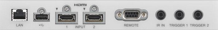 Zweimal HDMI 2.0, einmal HDCP 2.2: Das Anschlussterminal des Sony verzichtet auf analoge Eingänge, dekodiert aber den Verschlüsselungsstandard künftiger UHD-Quellen. Auch für die HDR-Option (High Dynamic Range) ist er als weltweit erster Heimkino-Projektor schon vorbereitet. Die USB-Buchse ist lediglich für Firmware-Updates vorgesehen.