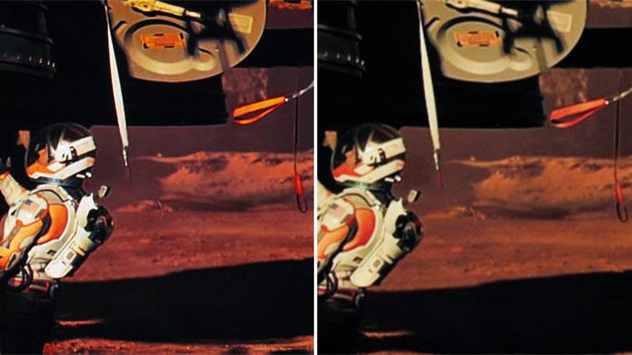 """Scharfe Schlaufe: In der Ultra-HD-Version von """"Der Marsianer"""" (links) erscheinen farbige Details intensiver und Bewegungen schärfer. Spitzlichter strahlen heller."""
