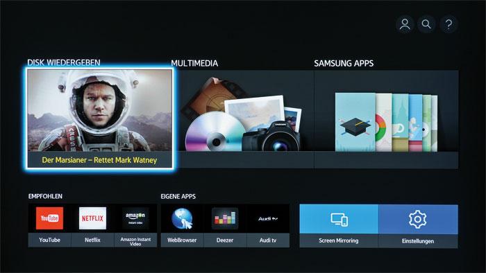 Wie im Bilderbuch: Der Samsung UBD-K 8500 begrüßt den Zuschauer mit einem übersichtlichen Startbildschirm, der auf alle wichtigen Funktionen verzweigt.