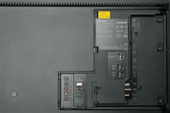 Zwei von vier: Ultra-HD-Signale lassen sich ausschließlich über die beiden seitlichen HDMI-Eingänge zuspielen. Nur diese unterstützen auch den HDCP-2.2-Kopierschutz.