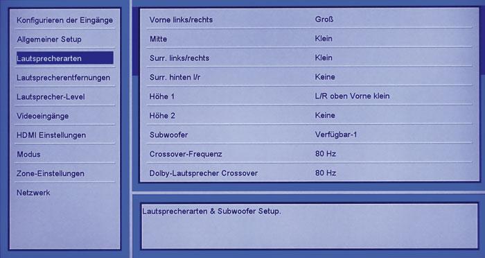 """Im Menü """"Lautsprecherarten"""" werden die vorhandenen Boxen und deren Größe festgelegt; zwei Subwoofer können gewählt werden."""