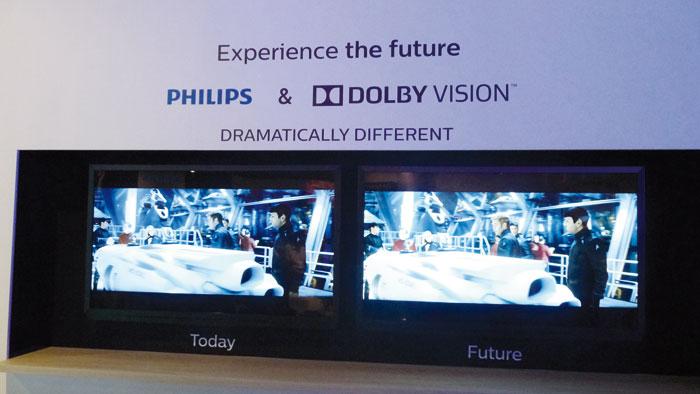 Bereits auf der IFA 2014 führte Philips die Dolby-Vision-Technik vor, die ersten  HDR-Fernseher des Unternehmens unterstützen die HDR-Technik von Dolby nicht.