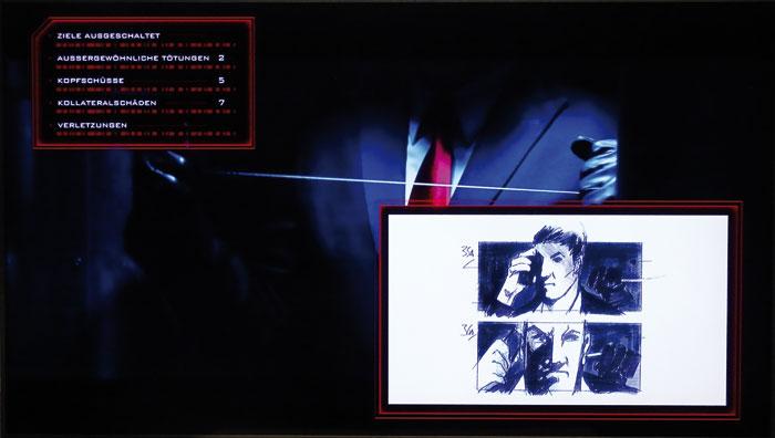 Von wegen lautloser Killer: Agent 47 (Rupert Friend) ballert gern um sich (links). Der Trivia-Track zeigt dabei detailliert die Anzahl seiner Opfer an.