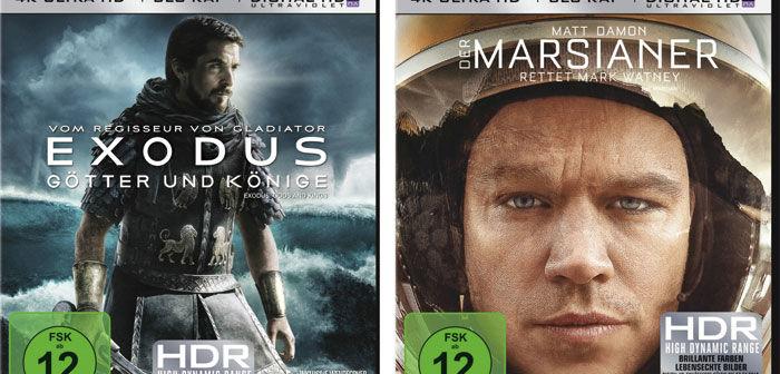 """Die Ultra-HD-Titel """"Exodus"""" und  """"Der Marsianer"""" wurden lediglich von einem 2K-Digital-Intermediate hochskaliert."""