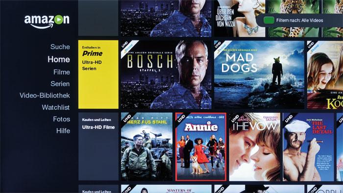 Hoch hinaus: Neben Netflix stellt beim neuen Hisense-TV auch Amazon Instant Video Filme und Serien in Ultra-HD-Auflösung bereit.