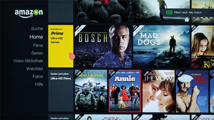 Neben dem Mediaplayer dient auch Amazon Instant Video als HDR-Quelle, wobei die Qualität nicht mit der von UHD-Blu-rays konkurrieren kann.