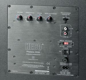 """Per """"Bass Extension""""-Regler lässt sich beim Heco-Sub der Tiefbass bei etwa 35 Hertz um bis zu sechs Dezibel anheben."""