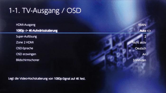 Der rudimentäre 4K-Scaler rechnet ausschließlich 1080p-Signale auf UHD-Auflösung hoch.