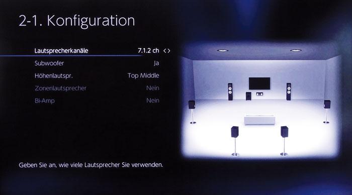 Die Boxenkonfiguration des TX-RZ810 bietet die Option für ein 7.1.2-Setup. In der Praxis lassen sich jedoch die Höhen-Boxen und Back-Surround-Lautsprecher nicht gleichzeitig betreiben – trotz entsprechender Vorverstärkerausgäng.