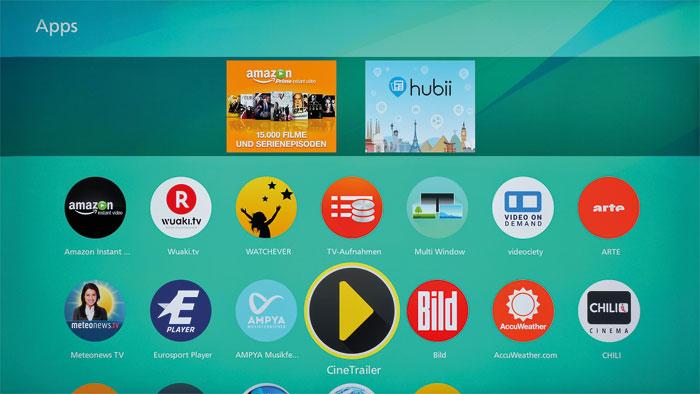 """Spielwiese: Bereits ab Werk stellt der DXW 904 beliebte Online-Videotheken zur Verfügung. Wer einen Dienst vermisst, wird vielleicht im """"Apps Market"""" fündig."""