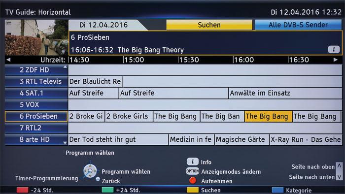 Sauber sortiert: Der Tuner speichert die TV-Kanäle in einer praxisgerechten Reihenfolge ab. Aufnahmen können zwei Wochen im Voraus programmiert werden.