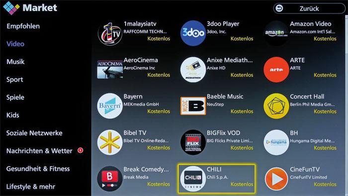 Auch wenn ab Werk die beliebtesten Online-Videotheken installiert sind, stehen in Panasonics Apps Market zahlreiche weitere Dienste zum Download bereit.