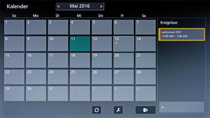 Wissen, was anliegt: Panasonic spendiert seinen Fernsehern einen Kalender mit Terminfunktion. TV-Aufnahmen werden allerdings über ein anderes Menü programmiert.