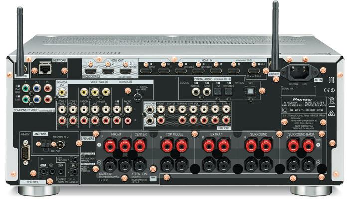 Bestens bestückt: Der Pioneer bringt Anschlüsse für fast alle Anwendungen mit, nur auf einen analogen 7.1-Eingang verzichtet der SC-LX79. Von den acht (einer vorn) HDMI-Eingängen akzeptieren nur drei den HDCP-2.2-Kopierschutz. Neu sind die beiden Antennen für Bluetooth und WiFi, die für einen störungsfreien Empfang sorgen sollen.