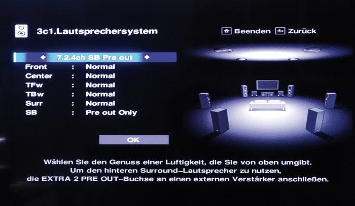 Setup: Bei 7.2.4-Layouts werden wahlweise die Back-Rears oder die Frontboxen mit Pre-out-Signalen versorgt.