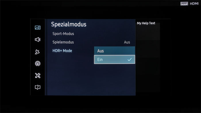 """Geheimwaffe: Im Bildmenü des KS 9590 findet sich unter """"Spezialmodus"""" die neue """"HDR+""""-Schaltung, die SDR- wie HDR-Inhalte dynamischer wirken lässt."""