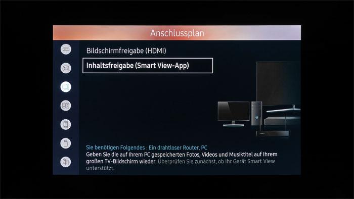 Anschlussplan: Einsteigern liefert der Samsung-TV eine Schritt-für-Schritt-Anleitung zum Anschließen von Wiedergabegeräten wie Blu-ray-Player oder Spielekonsole.