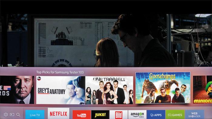 Schneller Zugriff: Fährt man beispielsweise über die Netflix-App, werden automatisch Film- und Serienempfehlungen eingeblendet. Hier gibt es auch HDR-Inhalte.